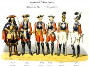 Evolution de l'uniforme des mousquetaires