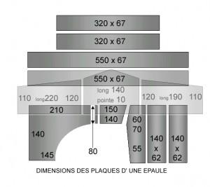 Segmentata, dimension des plaques d'épaule