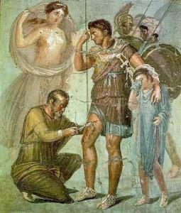 Extraction d'une flèche dans l'antiquité