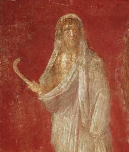 Saturne avec sa faux, peinture de Pompei