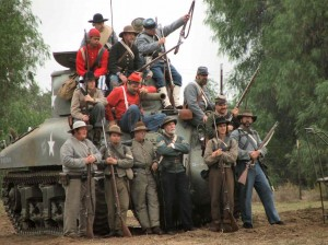 Civil War Reenactors with tank