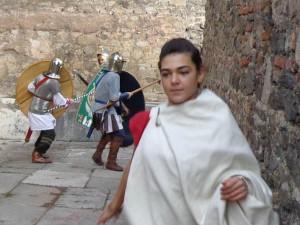 Civile en fuite pendant les combats